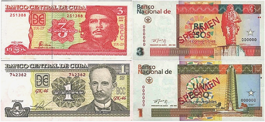 Figure 1. Cuban Peso and Cuban Convertible Peso Bills
