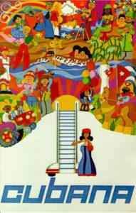 Cubana de Aviación. 1977. Poster designed by Ernesto Padrón. offset 63x42