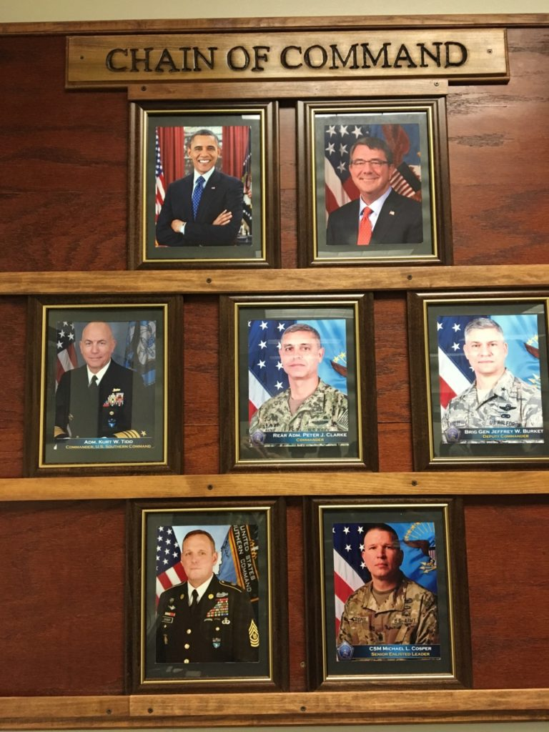 The U.S. military's chain of command as displayed in a Gitmo conference room; July 10, 2016 (photo by Don E. Walicek approved for release by JTF 160)