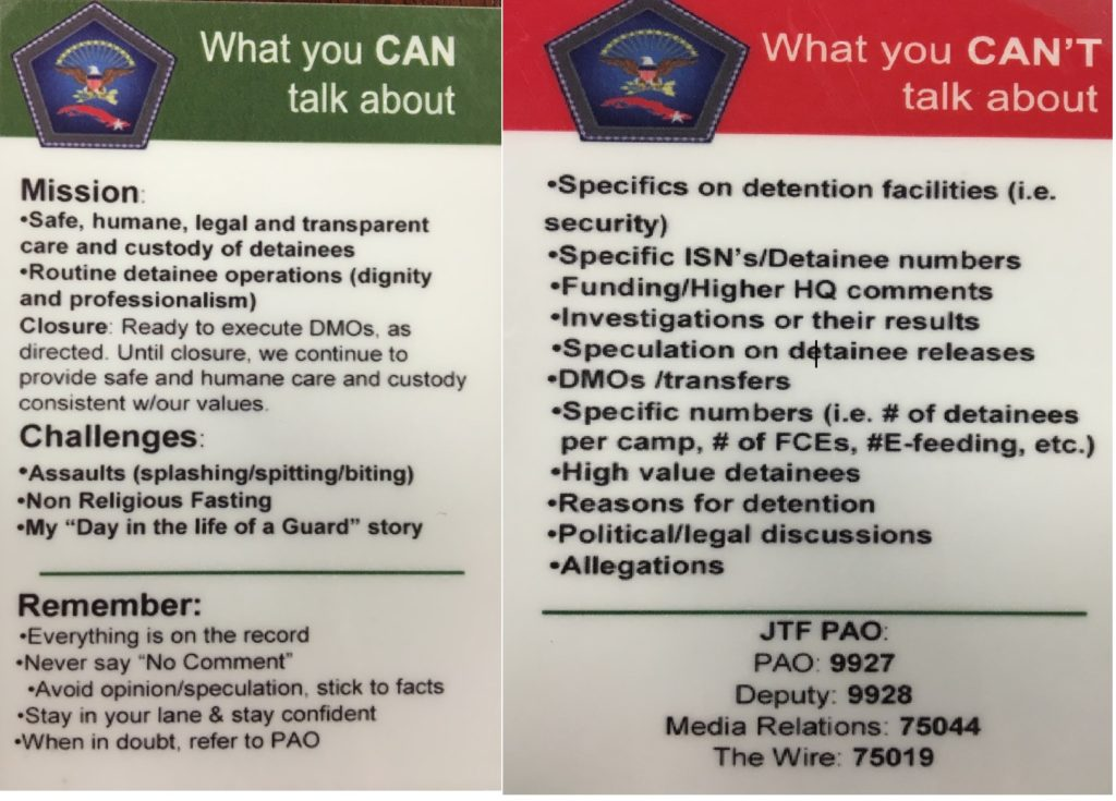 The front and back of a wallet-size talking points card designed for members of JTF 160 who have frequent contact with the press; July 10, 2016 (photo by Don E. Walicek approved for release by JTF 160)